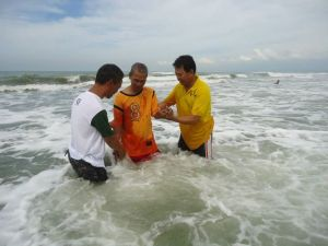 Brother Dante Legaspi  together with Pastor John Tuazon and Brother Ely Junio at  Bonuan, Dagupan City